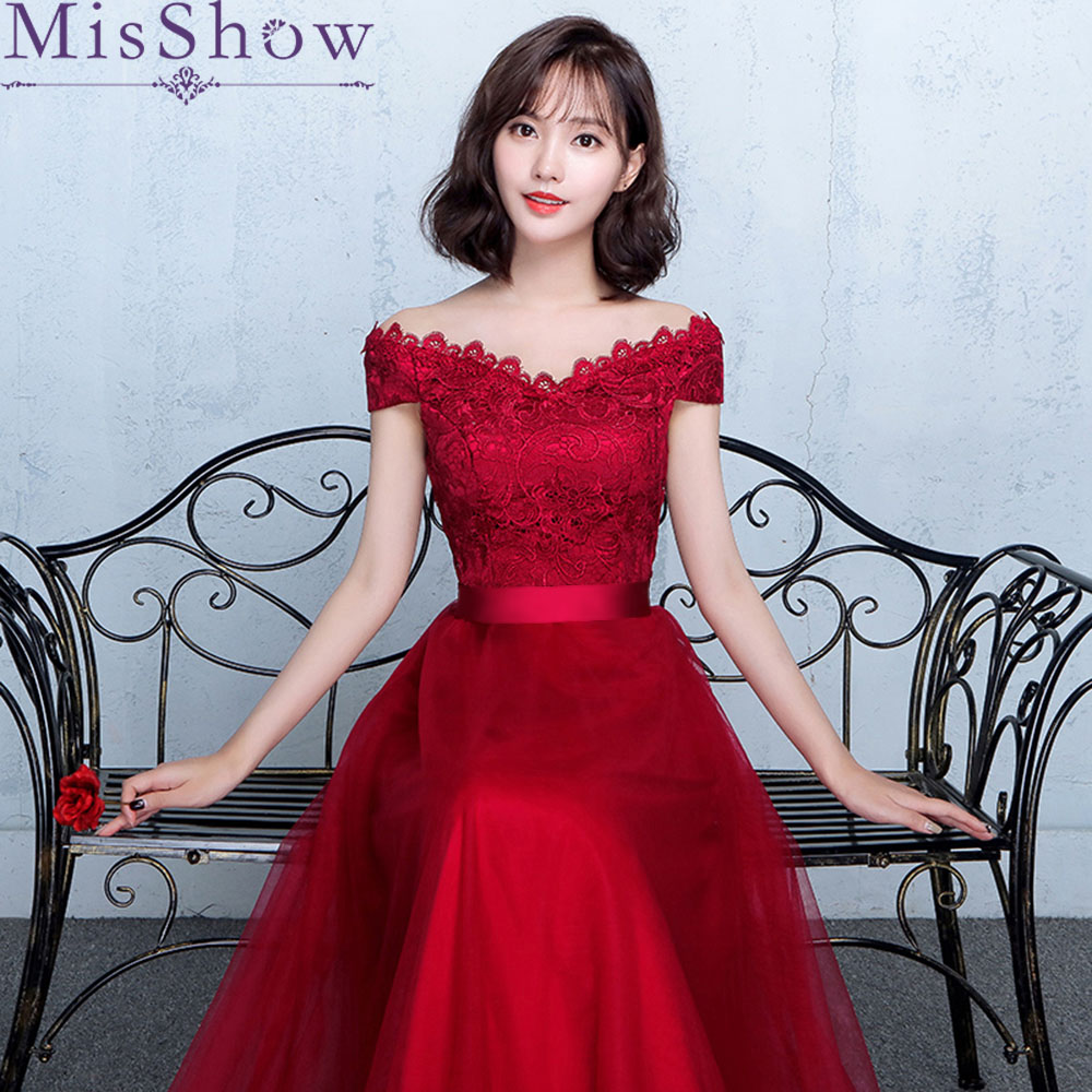 2019 Robe De Soiree Wine Red Lace Applique Elegant Long   Evening     Dress   Backless Bridal V neck Sleeveless Banquet Sexy Prom   Dress
