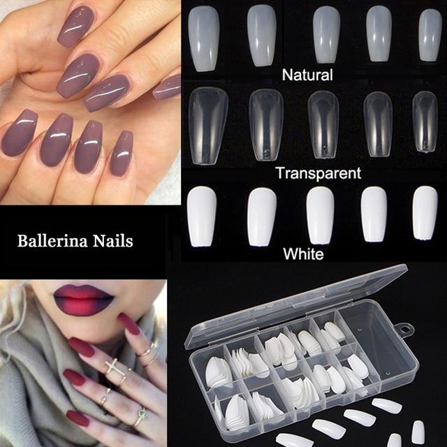 100pcs Box New Ballerina Nail Tips Full Nails Coffin Shape Artificial French Fake Tip