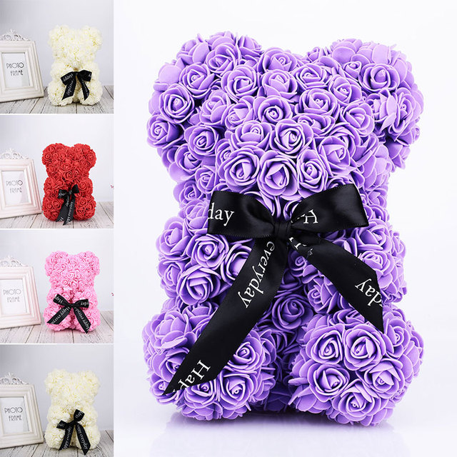 Mother S Day Gift Artificial Pe Rose Bear Diy Valentine Gift Pe Rose Doll Gift For Creative Wedding Party
