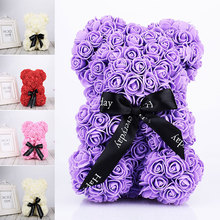 Valentine's Romantice Artificial Rose Bear/Dog/Rabbit PE Rose Gift For Wedding Party Creative DIY Valentine Gift PE Rose Doll