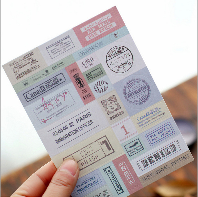 20 Set1 Lot Vintage Travel Stamp Scrapbook Paper Diary Deco