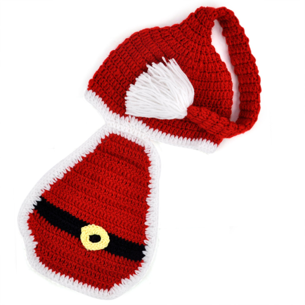 MACH Baby hat unisex christmas accessories Costume Photo Prop Knit Crochet Beanie Hat Cap Xmas Gift - Red