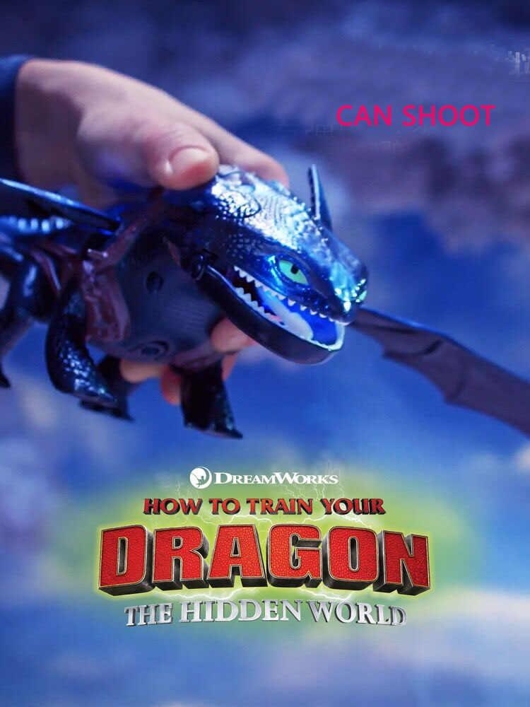 Gigante genuíno Como treinar o seu dragão Desdentado 20-polegada Dragão Cuspidor de Fogo com Fogo Respiração Efeitos Brinquedo das crianças presente