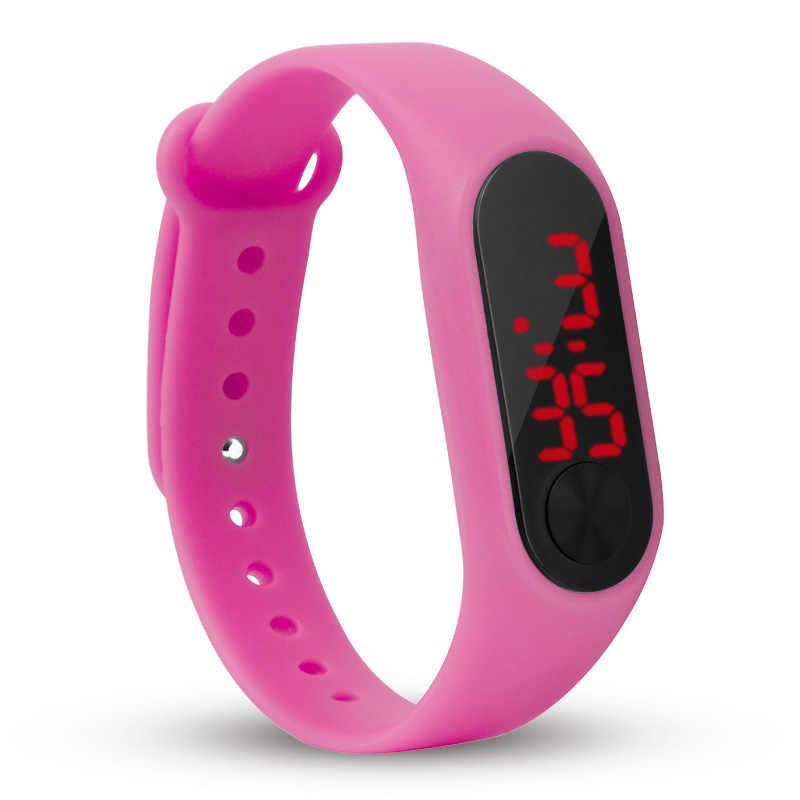 Reloj de pulsera deportivo informal de moda para hombre y mujer con LED rojo electrónico Digital Color caramelo de silicona para niños