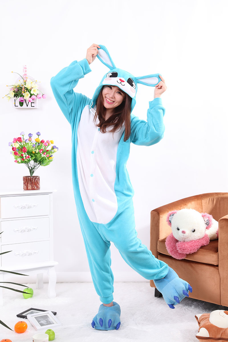 808cb327ed Kigurumi Blue Rabbit Pajamas Sleepwear Adult Onesie Animal Rompers Cartoon Cosplay  Costumes Womens Men Jumpsuit Pyjama