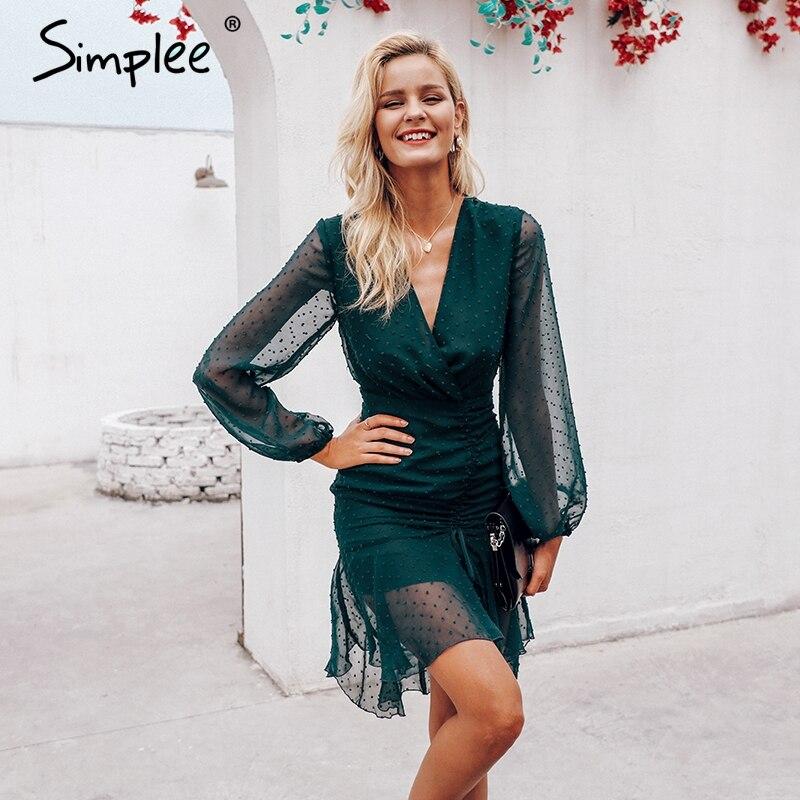 Simplee Elegant Chiffon Wrap Midi Dress DR0818
