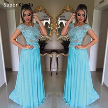 SuperKimJo Blue Prom Dresses Long 2019 Chiffon A Line Lace Applique Elegant Cheap Gown for Women Robe De Soiree