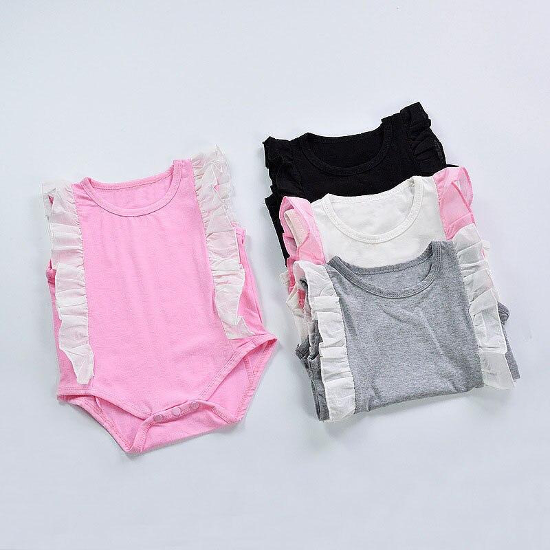 CN 2017 Nieuwe 0-2 jaar Baby meisje Body Zomer Mode Stikken Katoen - Babykleding - Foto 4