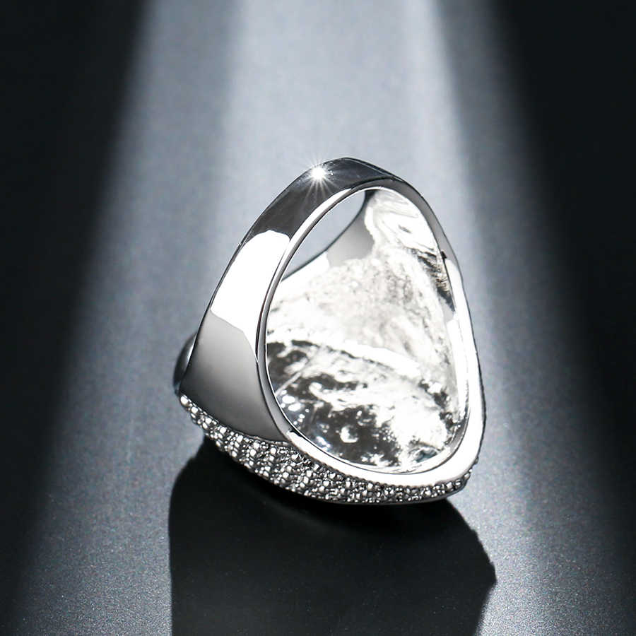Kinel Luxury VINTAGE Punk แหวนคริสตัลคริสตัลทิเบตเงินแฟชั่นแหวนแต่งงานของผู้หญิง