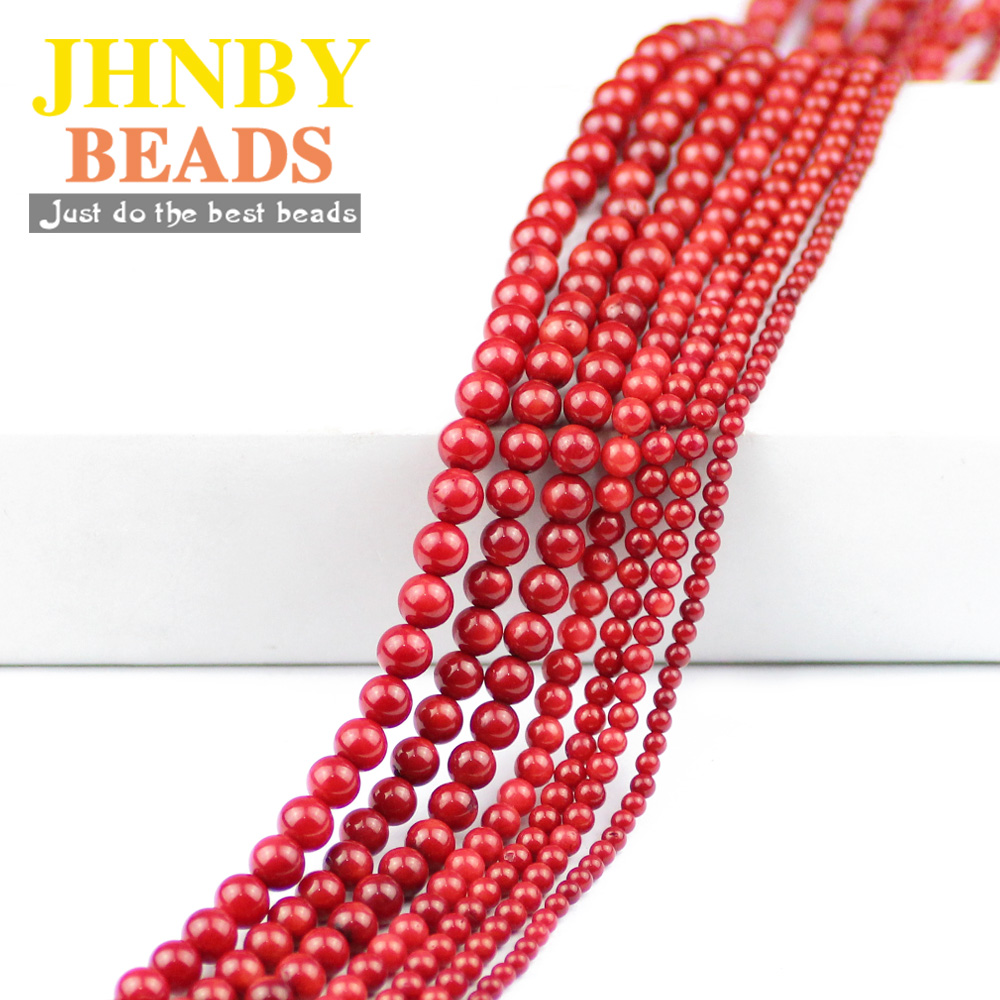 JHNBY AAA <font><b>Red</b></font> <font><b>Coral</b></font> Natural Stone Beads 3/4/5/6/7mm Round Balls Loose Beads for Jewelry Bracelet Earrings Accessories Making DIY image