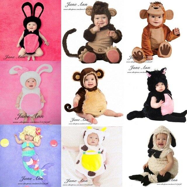Детские фотографии аксессуары для младенцев и малышей обезьяна овцы cat кролик корова русалка костюм 4-12мес ребенок фотостудия стрелять реквизит