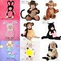 Accesorios de fotografía del bebé infant toddler mono ovejas cat conejo vaca traje de sirena 4-12month bebé photo studio props disparar