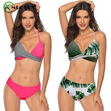 MUOLUX Sexy Bikini Women Swimsuit Push Up Swimwear Bandage Halter Top Bikini Set Plus Size Beach Wear 2020 Bathing Suit S-3XL стоимость
