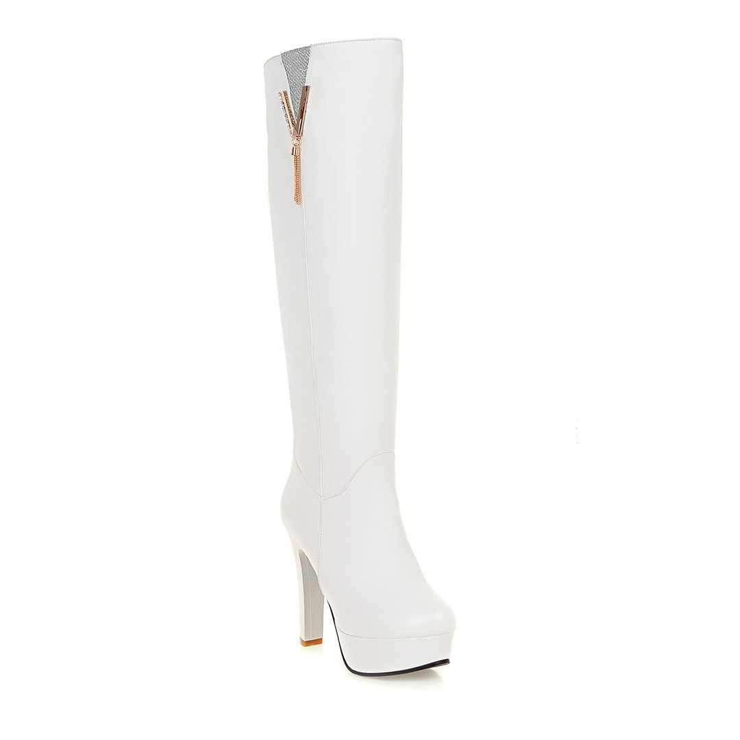 2018 Mới rouned toe đàn phụ nữ khởi động đầu gối cao khởi động phụ nữ giày người phụ nữ mỏng cao gót giày phụ nữ giày kích thước lớn 34-43
