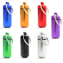 Outdoor EDC Tool survival kit  Small Pill Case Portable First Aid Container Water Resistant ID Bottle Holder Key Ring  camping