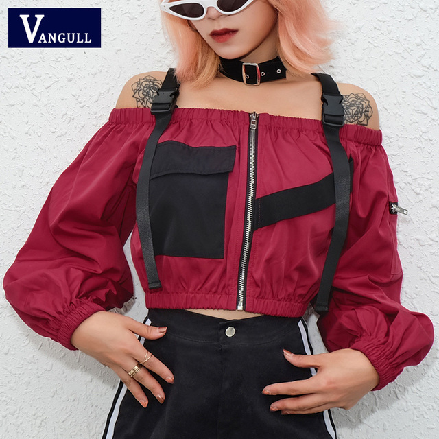 Vangull Slash Neck Tops Women Adjustable Buckle Front Zipper Blouse 2019 New Spring Summer Fashion Long Sleeve Patchwork Jacket