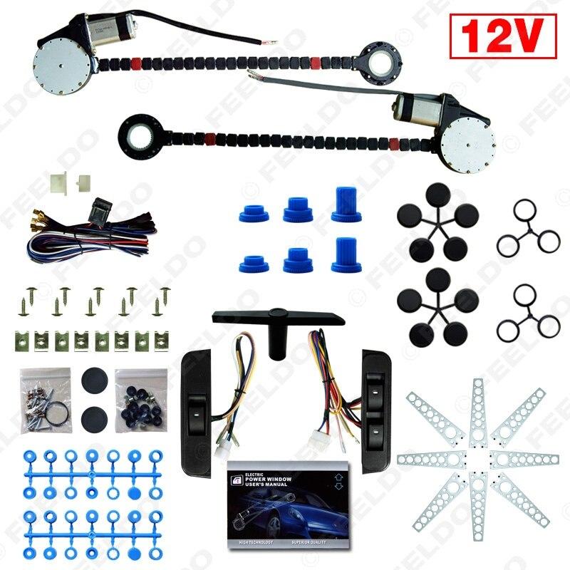 MOTOBOTA 1Set 12V Car Universal 2-Doors Electric Power Window Kits With 3pcs/Set Moom Switches #FD-4419