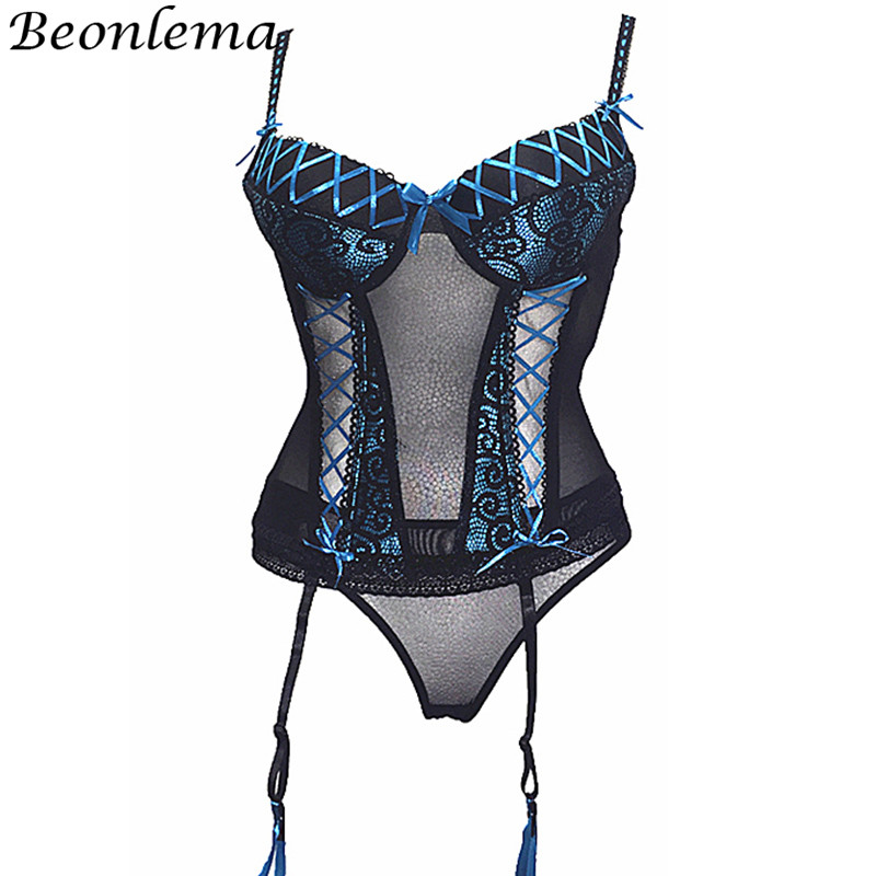 Image 2 - Beonlema Sexy Lace Corset Tops Women Transparent Erotic Lingerie Bustiers Red Rose Underwear With Stocking Belt Modeling Belt-in Bustiers & Corsets from Underwear & Sleepwears