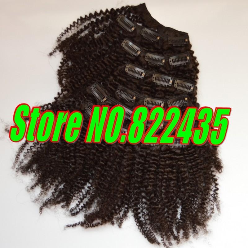 100% Brazilian Human Hair Clip in Hair Extensions 6pcsSet 100-125g Brazilian Virgin Kinky Curly Hair Weave Full Head_conew1