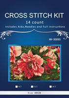 1TH Free Delivery Top Quality Lovely Counted Cross Stitch Kit Coral Peonies Peony Pink Flower Flowers