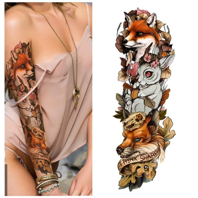 1pcs Fox And Rabbit Full Flower Arm Temporary Tattoo Sticker Body Paint Water Transfer Fake Tatoo Sleeve
