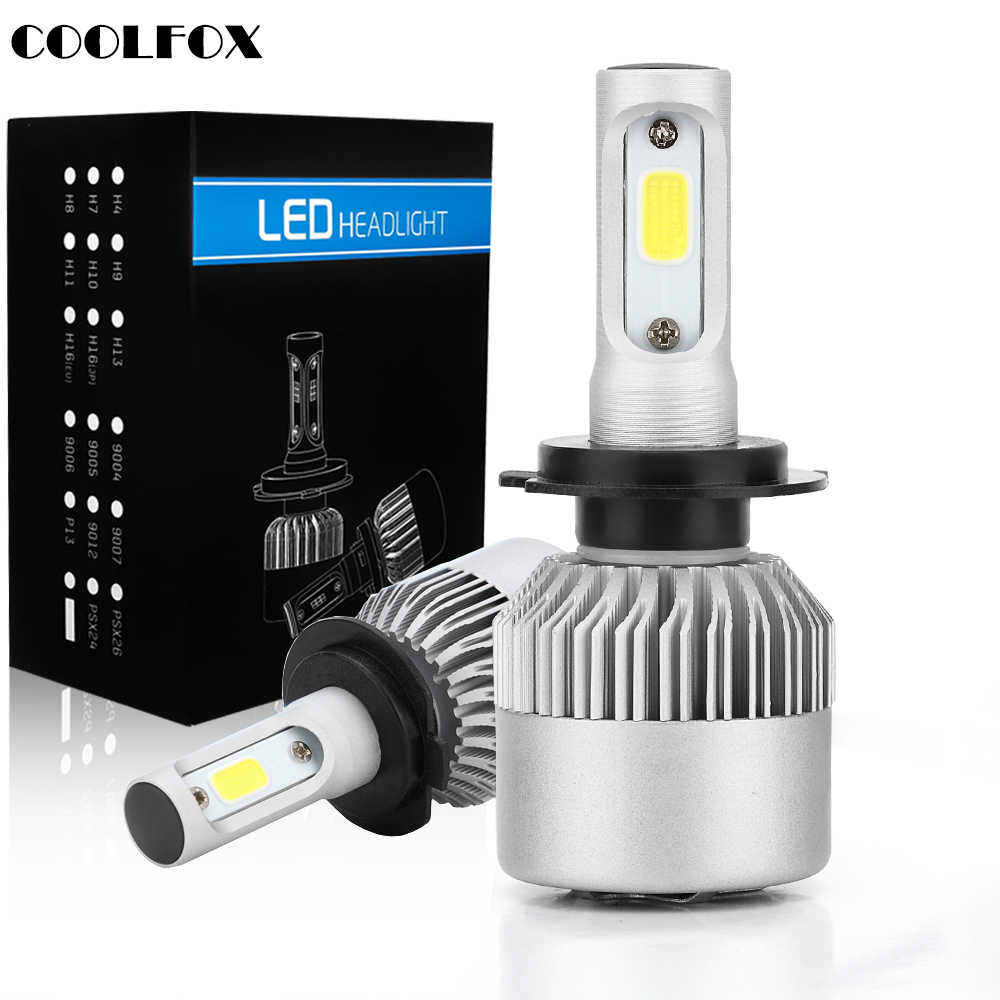 COOLFOX Car Headlight S2 H4 LED Bulbs H7 H8 H11 H1 HB2 HB3 9005 9006 HB4 Led Auto Headlamp 80W 8000LM 6000K Light 12V 24V Pair