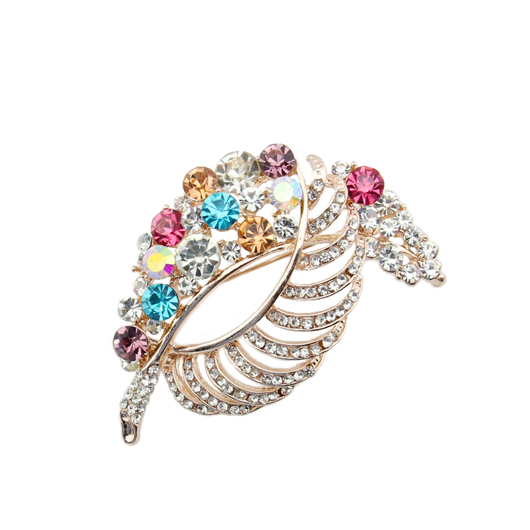 Nouveautés arc-en-ciel strass feuille grande broche de sécurité broche broach coloré cristal plume hijab broche pour cadeau de mariage