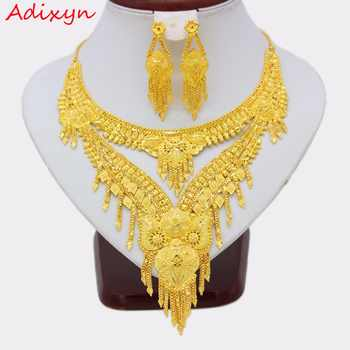 Adixyn NEW 2018 Luxury Arab Dubai Necklace/Earrings Jewelry set Gold Color & Copper African Gifts Bride Wedding Accessories - DISCOUNT ITEM  10% OFF All Category