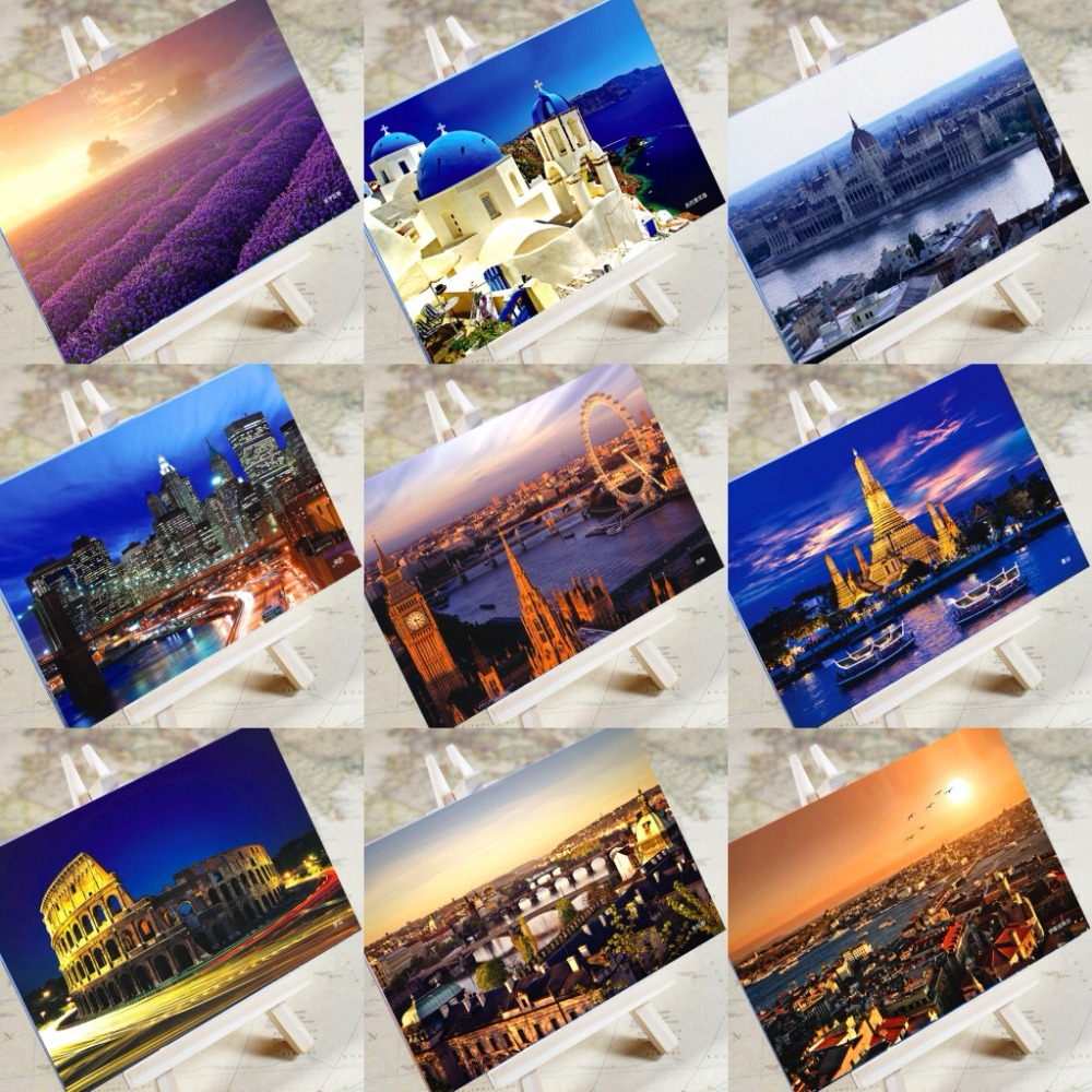 6 Sheets/Set Charming City Series Urban Landscape Postcard Greeting Card Message Card Birthday Gift Card