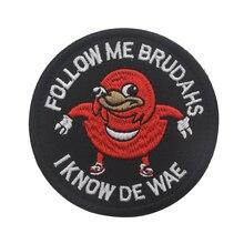 Patch Patch Ugandan knuckle noir, Badge Patch Follow me I Know De Wae, crochet et boucle