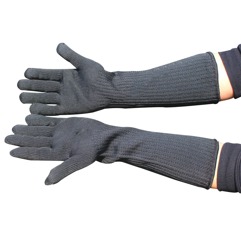 Long Cut Resistant Working Gloves With Stainless Steel Wire Protective Safety Gloves Metal Tactical Butcher Steel Glove Safety Gloves     - title=
