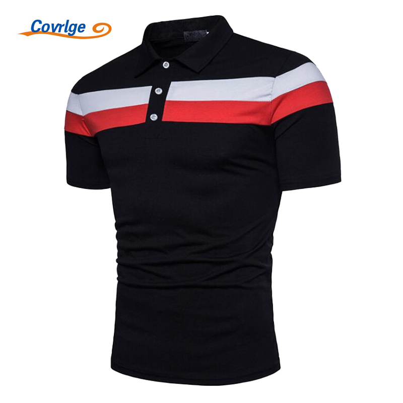 Covrlge Men Short Sleeve   Polo   Shirt 2018 Summer New Striped   Polos   Male Fashion Big Size Jersey Casual business Mens Tops MTP048