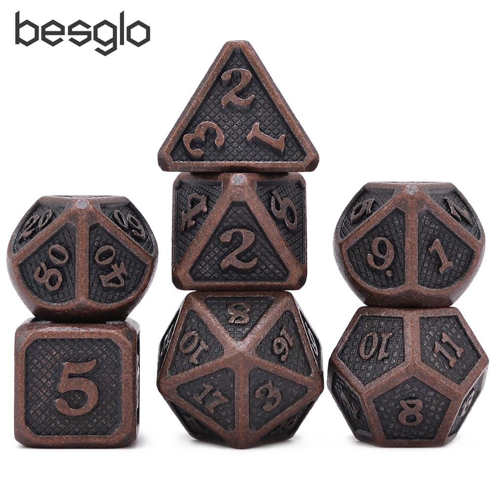 Dragon Scales Ancient Copper Metal Dice With Pouch 7pcs/set For Dungeons And Dragon DnD RPG MTG Board Games