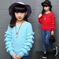 2017 Outono Inverno Meninas Moda Babados de Renda Camisola de Malha Crianças Agaric Punhos Manga Comprida Pullovers Malhas das Crianças Roupas G889