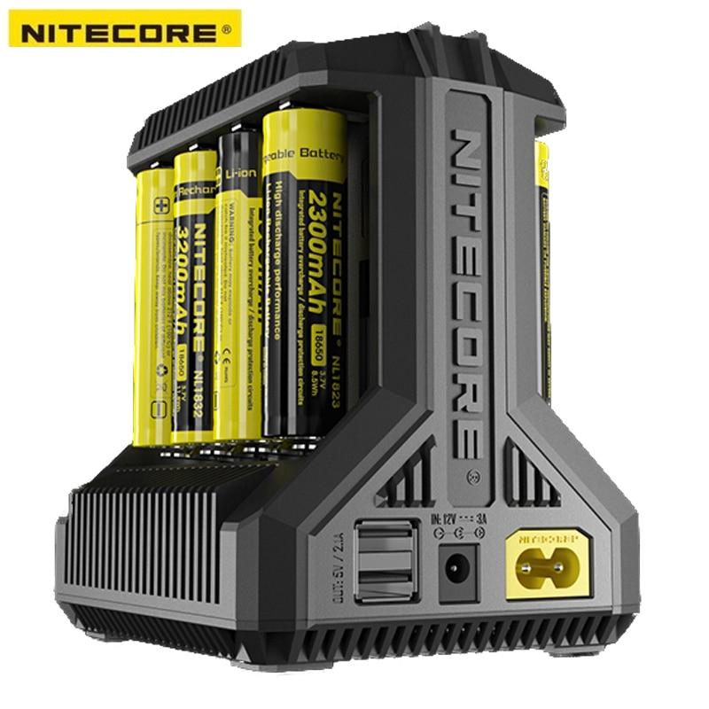 Nitecore i8 интеллектуальные Зарядное устройство 8 всего Слоты 4A Выход Smart Зарядное устройство для IMR18650 16340 10440 AA AAA 14500 26650 и USB устройства