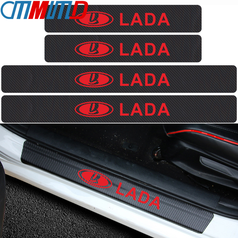 4pcs Carbon Fibre Door Plate Scuff Protection Sticker Door Sill Protector Stickers for Lada Niva Kalina Priora Granta Largus Vaz-in Car Stickers from Automobiles & Motorcycles