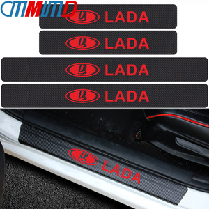 Image 1 - 4pcs Carbon Fibre Door Plate Scuff Protection Sticker Door Sill Protector Stickers for Lada Niva Kalina Priora Granta Largus Vaz