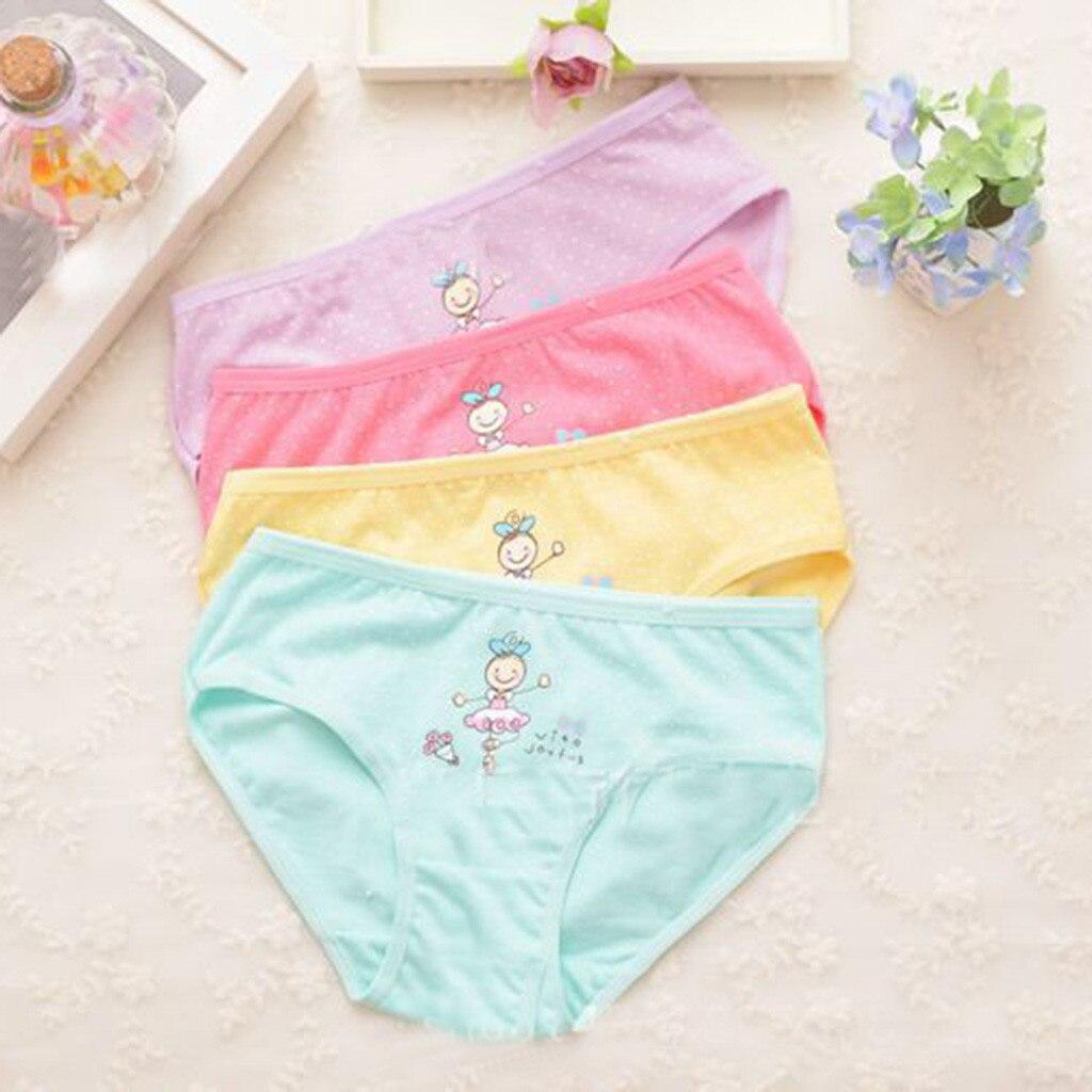 4PCS 2-10Years Cotton Soft   Panties   for Girls 2019 New Puberty Girl Cute Cartoon Underwear Teenage Briefs Calcinha Infantil