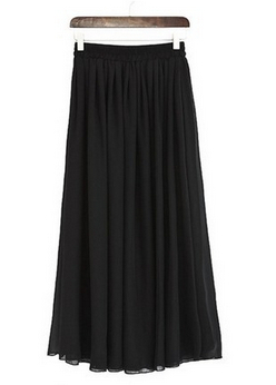 Plus Size Long Skirt Elegant Style Women Pleated Maxi Chiffon Skirts - Pakaian wanita - Foto 4