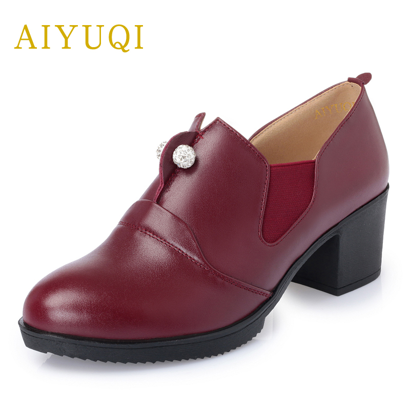 AIYUQI 2018 new spring genuine leather women's shoes plus size 41#42#43# deep-mouth women shoes have small size 34# shoes women aiyuqi big size 41 42 43 women s comfortable shoes 2018 new spring leather shoes dress professional work mother shoes women page 4