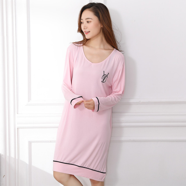 Modal Cotton Nightgowns Women Sleepwear Long Sleeve Nightgown Cute Nighty  Girls Nightdress Women Nightwear 3380b2562