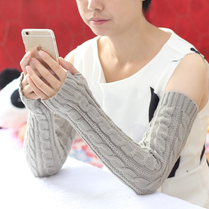 7 Colors New Autumn Winter Lengthen Women's Arm Warmers Knitted Arm Sleeve Solid Fine Long Knitted Fingerless Gloves