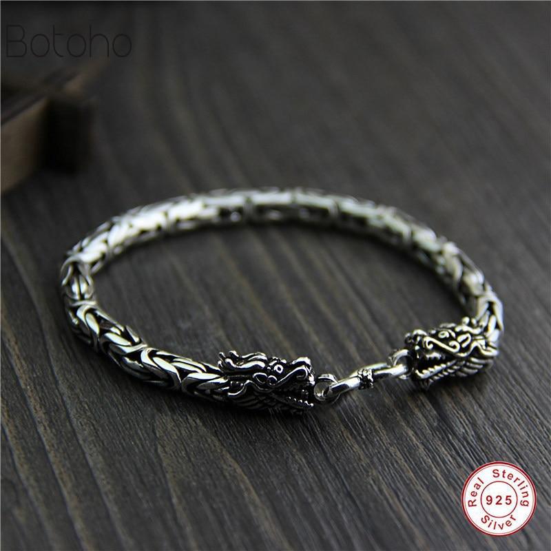 Genuine 925 sterling silver jewelry heavy duty dragon pattern men's bracelet 21CM retro punk style Punk men's bracelet for men