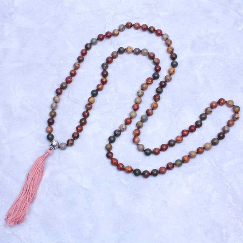 108 Picasso perle Baumwolle quasten lange halskette mala rosenkranz halskette meditation gebet...