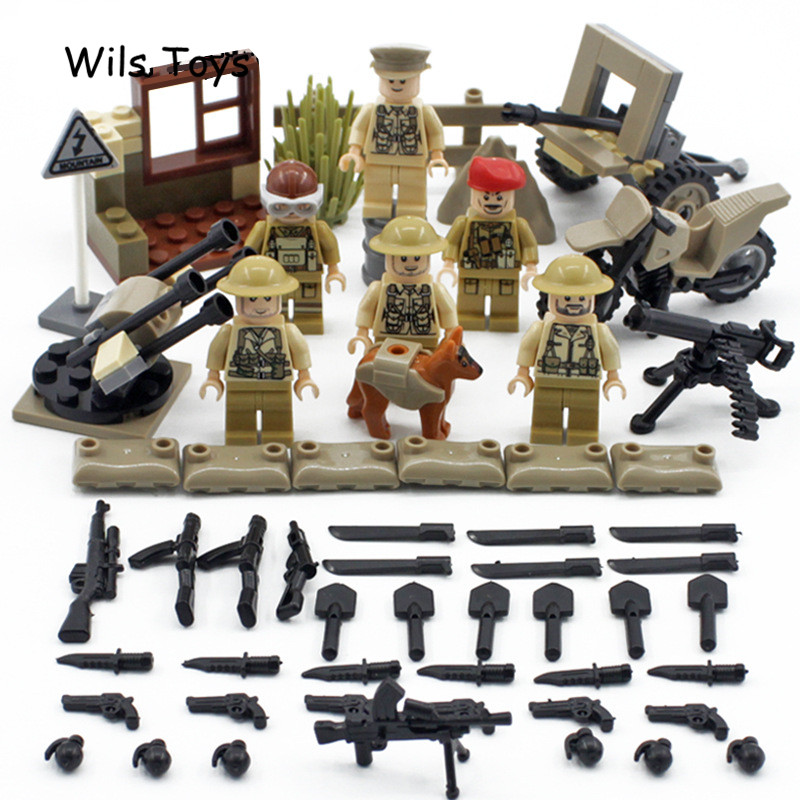6pcs British Army MILITARY Special Forces Soldiers War SWAT CS DIY Model Building Blocks Figures Educational Toys Gift BoyS Kids new model 340pcs military helicopter special forces war building blocks set army soldiers figures bricks toy for lepins children