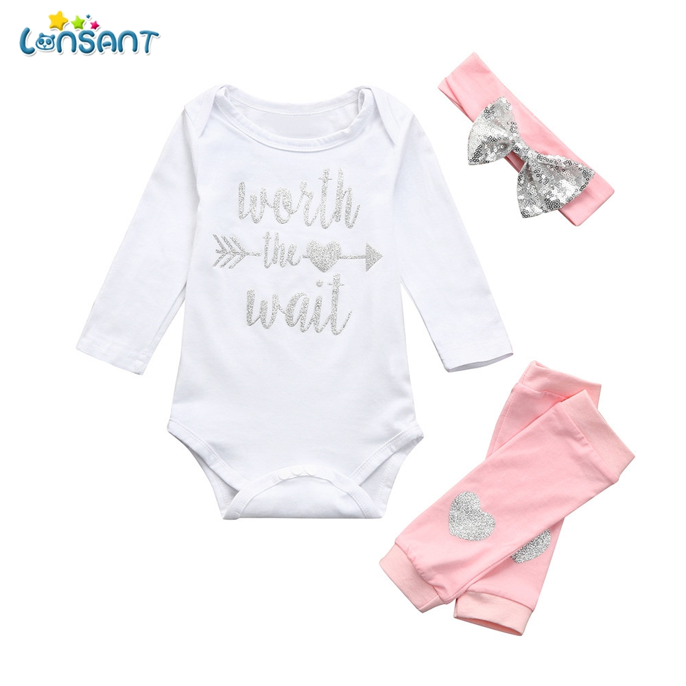 Objective Lonsant Hot Newborn Baby Rompers Set Baby Girl Cotton Long Sleeve Hot Stamping Letter Jumpsuit+leg Cover+headbands 3pcs Outfits Clothing Sets