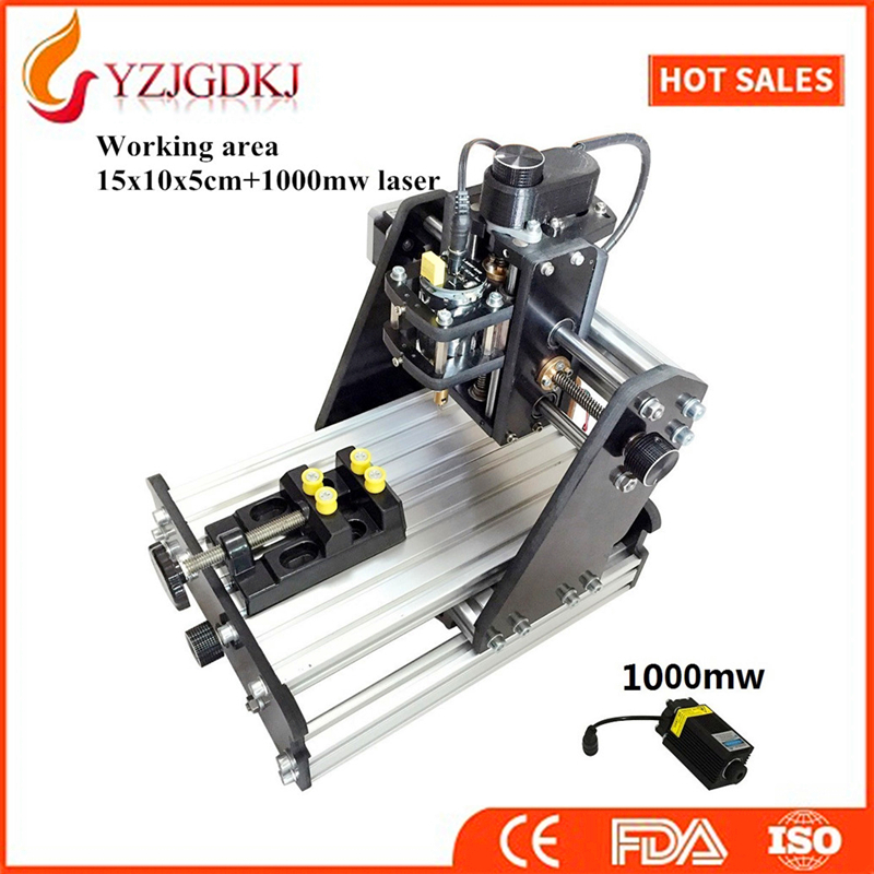 CNC 1510+1000mw laser GRBL control Diy high power laser engraving CNC machine,3 Axis pcb Milling machine,Wood Router+1w laser