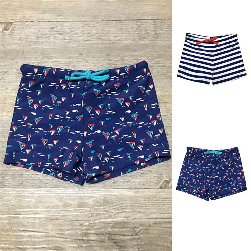 Telotuny Kid Children Summer   Shorts   2018 Boys Striped Print Stretch Beach Swimsuit Swimwear Pants   Shorts   MAY 29