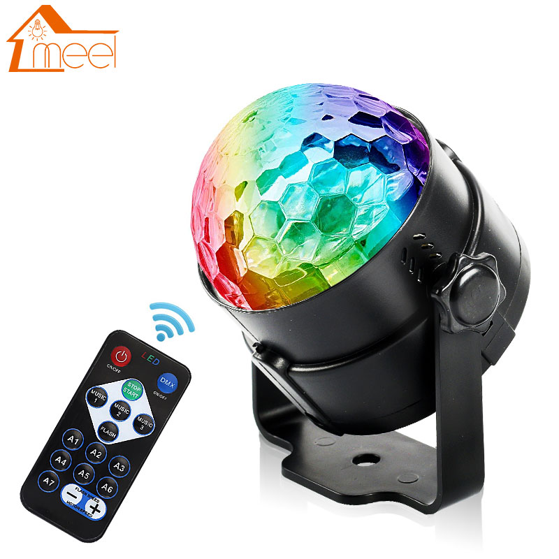 7 Colors Mini RGB LED Crystal Magic Ball Stage Lamp Sound Activated Laser Projector Party Disco Club DJ Light