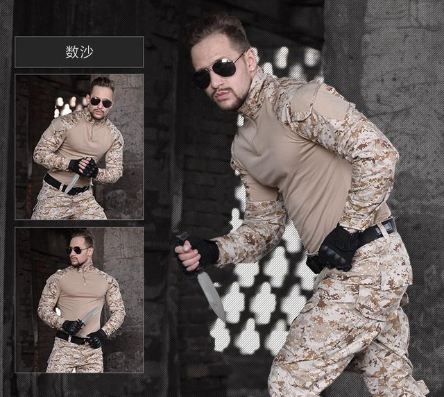 US $51 88 45% OFF|Aliexpress com : Buy Men Python Airsoft Army Military  Uniform Tactical Navy Seal Combat Frog Suit Shirt or Pants with Knee Pads